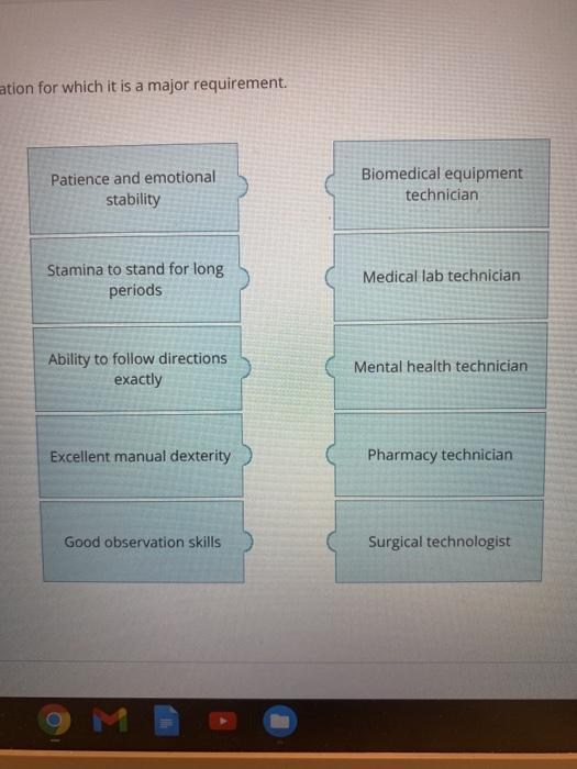 ation for which it is a major requirement. Patience and emotional stability Biomedical equipment technician Stamina to stand