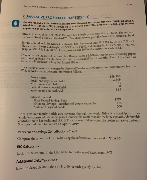Solved Gross Income Exclusions And Deductions For Agi Cum