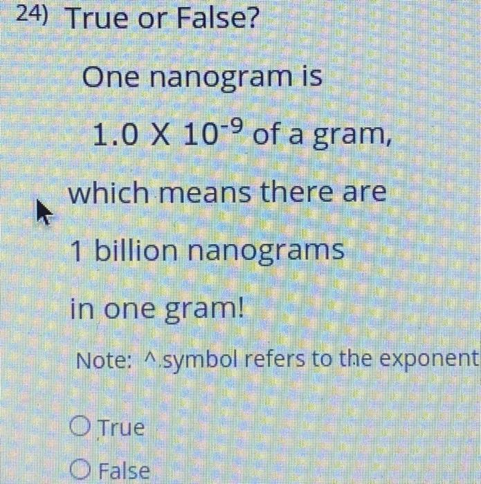 Solved 24 True Or False One Nanogram