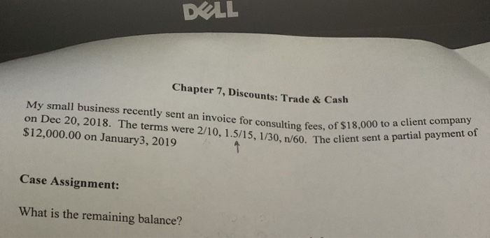 Solved: DELL Chapter 7, Discounts: Trade & Cash My Small B