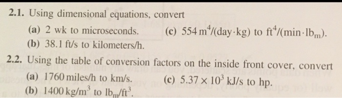 2 1 Using Dimensional Equations