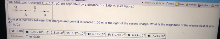Solved Due In Od 00 39 34 Two Equal Point Charges 6 21 Chegg Com