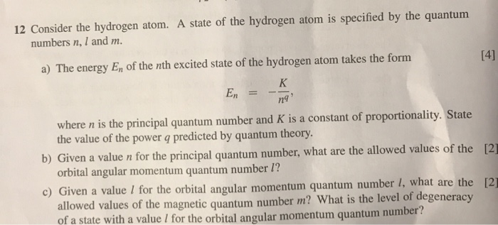 Solved: 12 Consider The Hydrogen Atom  A State Of The Hydr