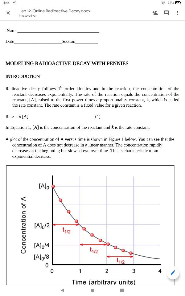 4 44 21 Lab 12 Online Radioactive Decay Docx Not Chegg Com