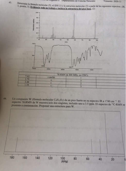 Solved 43 Determine The Molecular Formula The Molecular