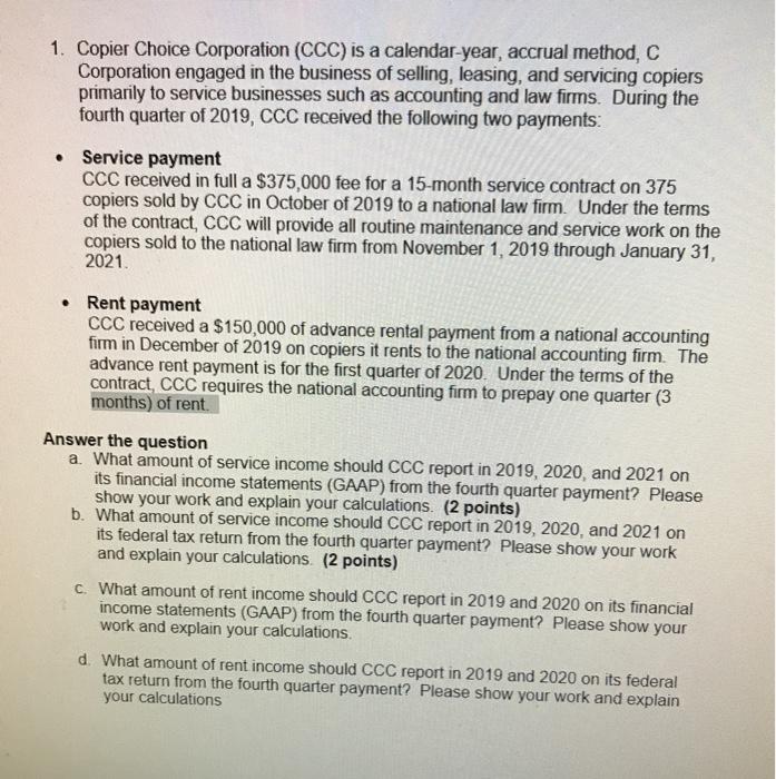 Ccc Calendar 2021 Solved: 1. Copier Choice Corporation (CCC) Is A Calendar y