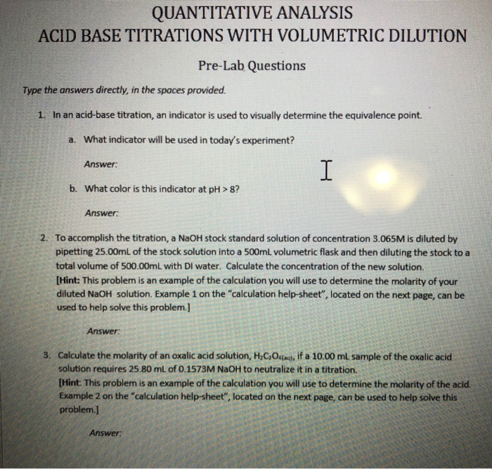 Solved: QUANTITATIVE ANALYSIS ACID BASE TITRATIONS WITH VO ...