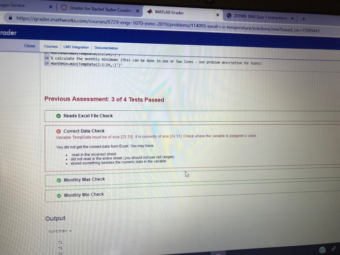 Service () Grades For Rachel Taylor Cousins X MATL    | Chegg com