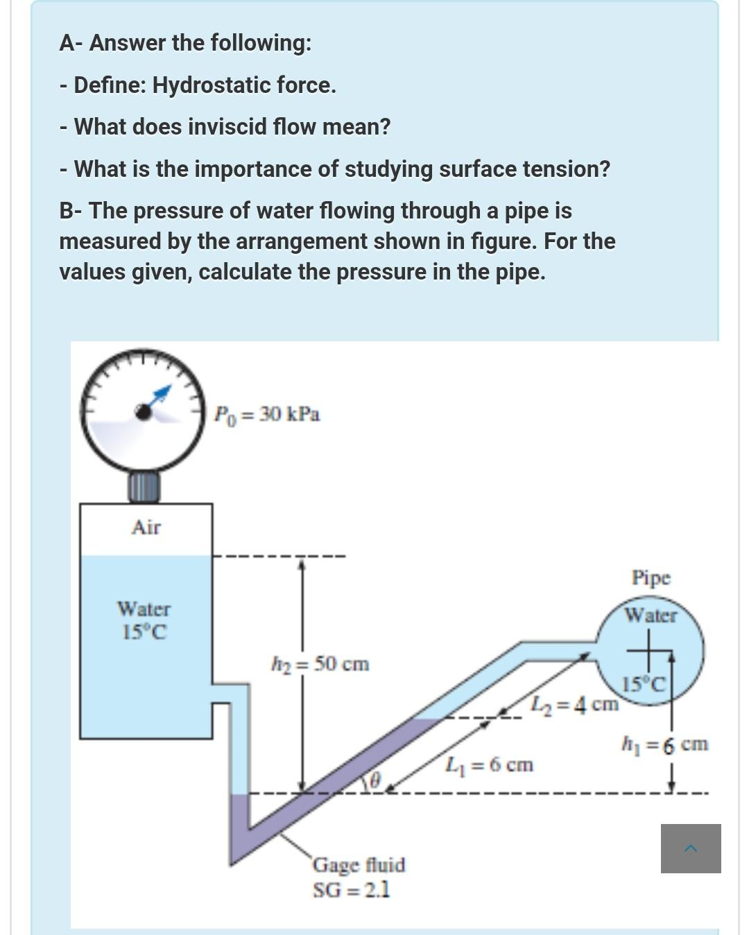 Solved: A- Answer The Following: - Define: Hydrostatic For..