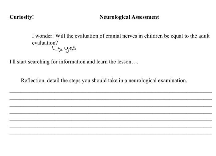 Solved Curiosity Neurological Assessment I Wonder Will Chegg Com Neurological assessment for sport and fitness. solved curiosity neurological