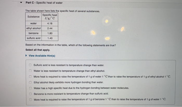 Solved: Part C- Specific Heat Of Water The Table Shown Her ...