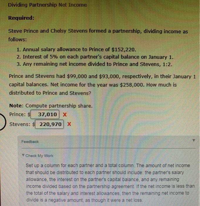 Solved: Dividing Partnership Net Income Required: Steve Pr