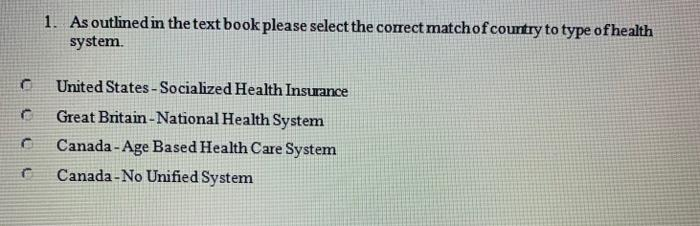 1. As outlined in the text book please select the correct matchof country to type of health system. United States - Socialize