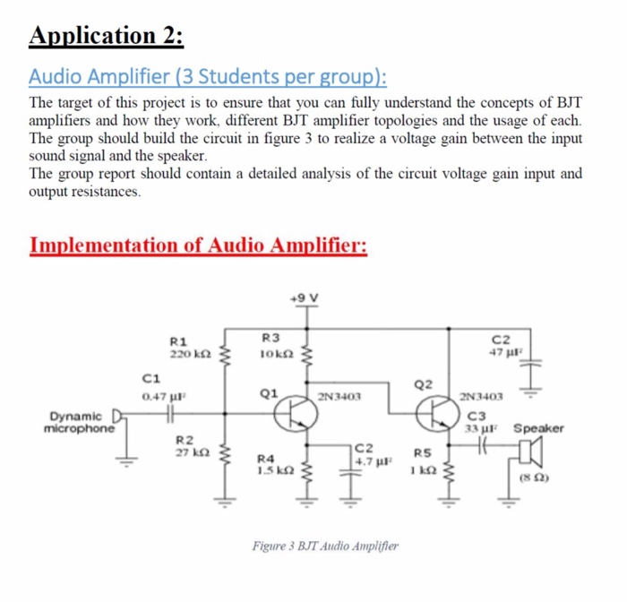 Solved: Application 2: Audio Amplifier (3 Students Per Gro