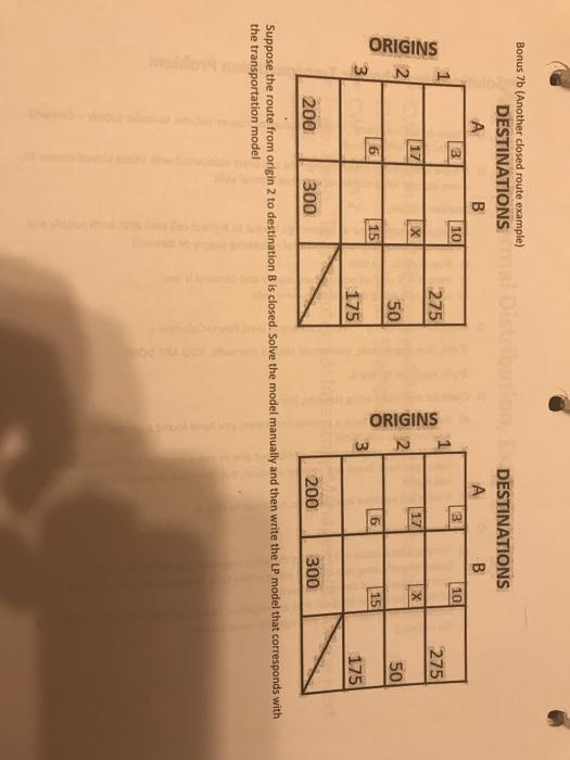 Solved: Bonus 7b (Another Closed Route Example) DESTINATIO