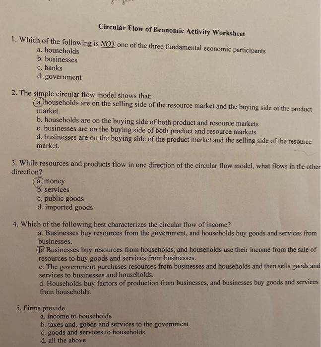 Solved 8 Je Circular Flow Of Economic Activity Worksheet