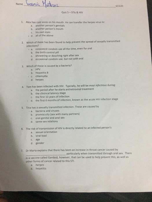 Solved: Nome Benesis Martinez SCI220 Quiz 5-STIS & HIV 1