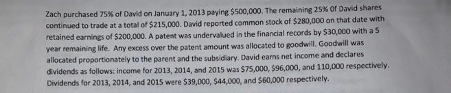 Zach purchased 75% of David on January 1, 2013 paying $500,000. The remaining 25% of David shares continued to trade at a tot