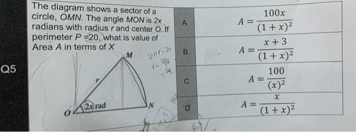 Solved  A The Diagram Shows A Sector Of A Circle  Omn  The