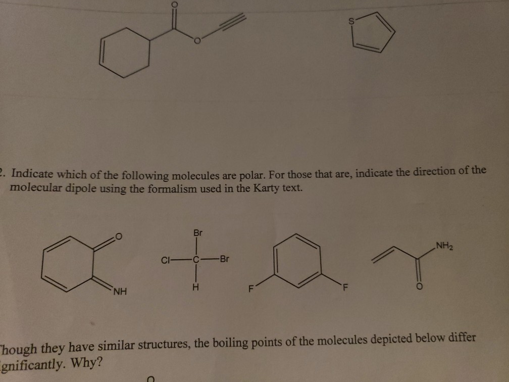 Solved Indicate Which Of The Following Molecules Are Pola Chegg Com