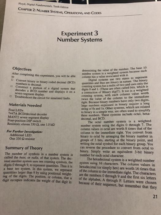 Floyd, Digital Fundamentals, Tenth Edition CHAPTER 2: NUMBER SYSTEMS, OPERATIONS, AND CODES Experiment 3 Number Systems Objec