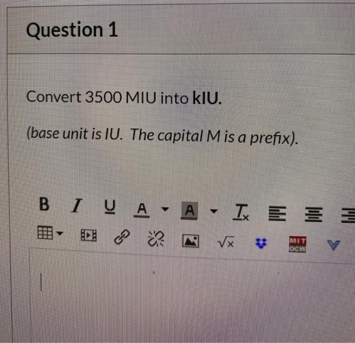 Convert 3500 Miu Into Klu Base Unit