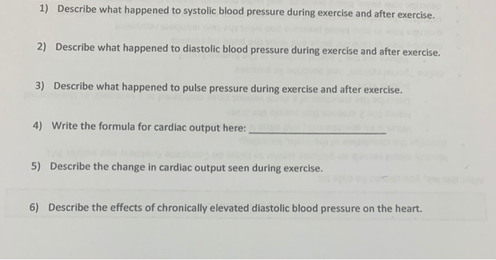Solved 1 Describe What Happened To Systolic Blood Pressu