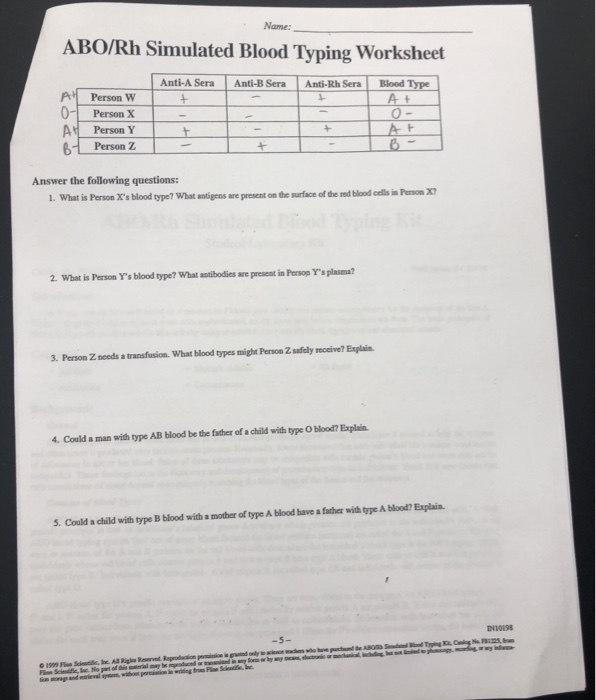 Abo Rh Simulated Blood Typing Worksheet Answers - worksheet