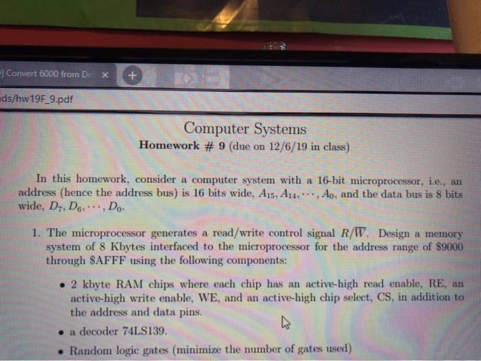 Convert 6000 From De X Ds Hw19f 9 Pdf Computer Sys Chegg Com