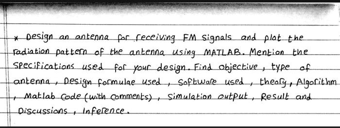 Design An Antenna For Receiving Fm Signals And P Chegg Com