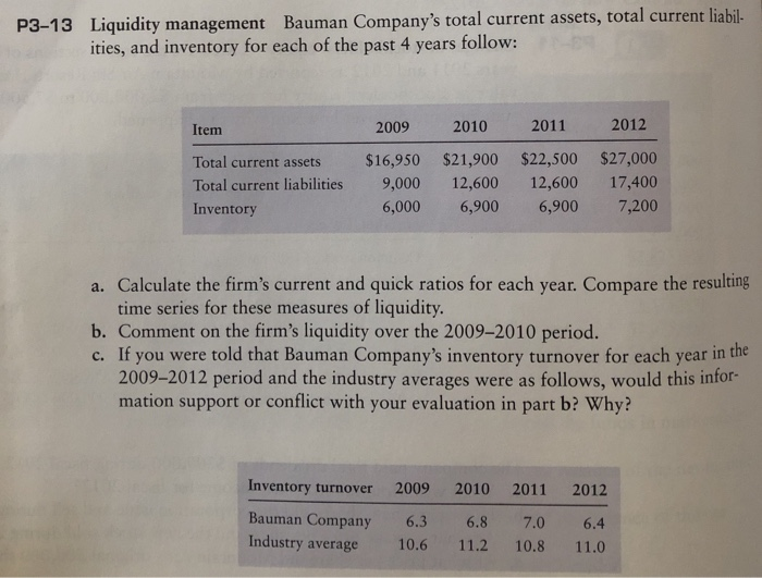 P3-13 Liquidity management Bauman Companys total current assets, total current liabil- ities, and inventory for each of the