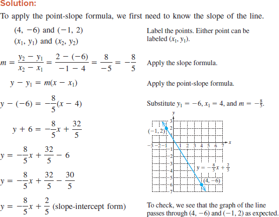 Solved: For Exercise, use the point-slope formula to write ...