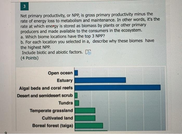 3 3 Net primary productivity, or NPP, is gross primary productivity minus the rate of energy loss to metabolism and maintenan