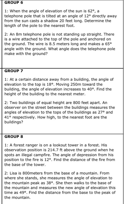 Solved Group 6 1 When The Angle Of Elevation Of The Sun Chegg Com