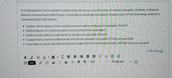 Solved In A Therapeutic Nurse Patient Relationship The F