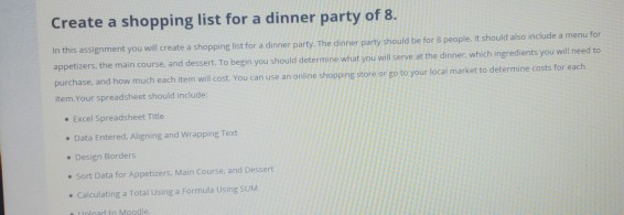 Create A Shopping List For A Dinner Party Of 8 In Chegg Com