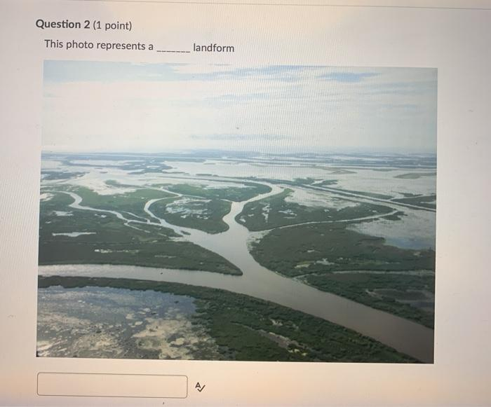 Question 2 (1 point) This photo represents a landform A/