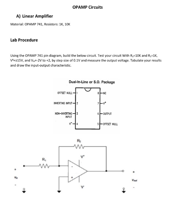 Solved: OPAMP Circuits A) Linear Amplifier Material: OPAMP