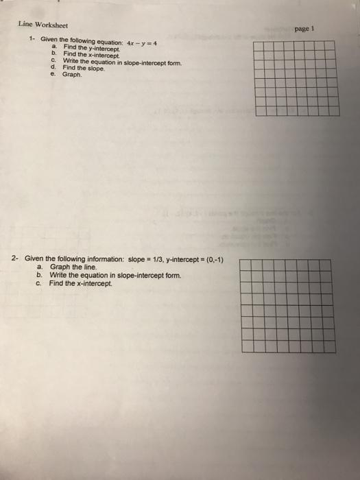 Solved: Line Worksheet Page 1 1. Given The Following Equat... Chegg.com