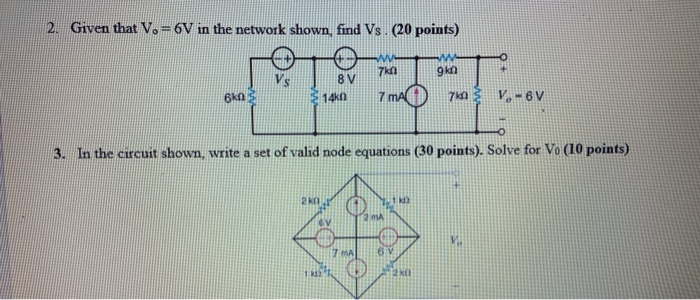 solved 2 given that 6v in the network shown find vs chegg com chegg
