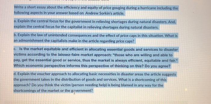 price gouging and economics essay