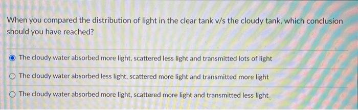 When you compared the distribution of light in the clear tank v/s the cloudy tank, which conclusion should you have reached?