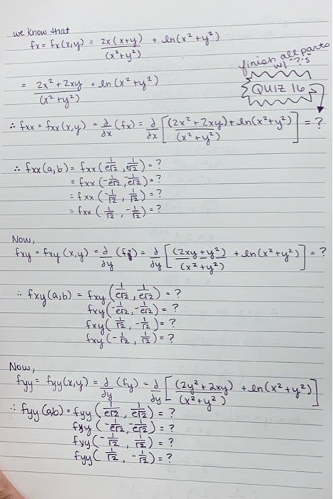 Solved: We Know That Fx= Fx (x,y) = X (x+y) + In (x² + Y²