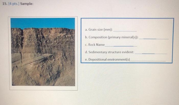 15. [4 pts.] Sample: a. Grain size (mm): b. Composition (primary mineral(s)): c. Rock Name d. Sedimentary structure evident: