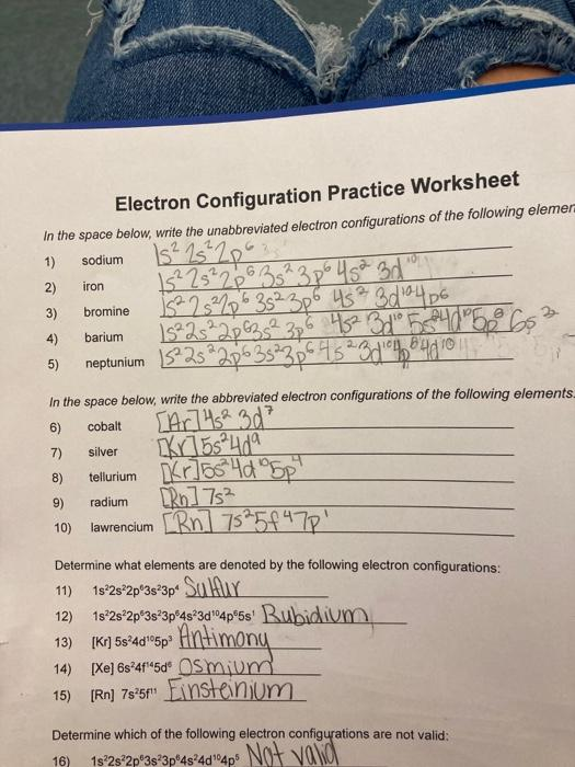 Electron Configuration Practice Worksheet In The Chegg Com