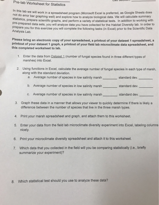 Pre Lab Worksheet For Statistics Ad We Will Work I