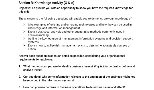 Section B: Knowledge Activity (Q&A) Objective: To provide you with an opportunity to show you have the required knowledge for