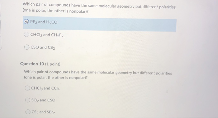 Solved Which Pair Of Compounds Have The Same Molecular Ge Chegg Com