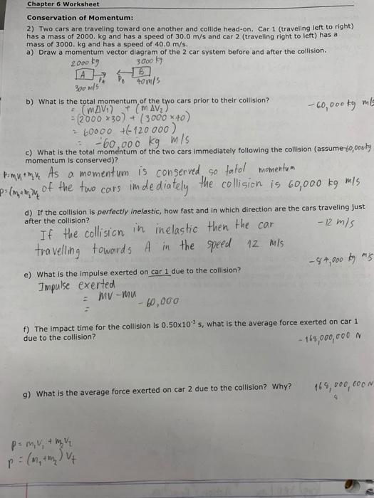 Solved: Chapter 6 Worksheet Conservation Of Momentum: 2) T ...