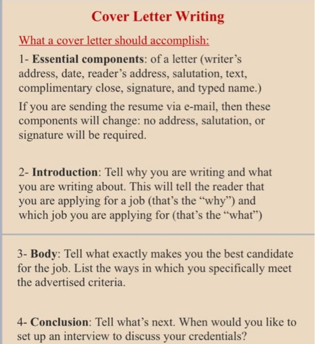 Cover Letter Writing What A Cover Letter Should Chegg Com